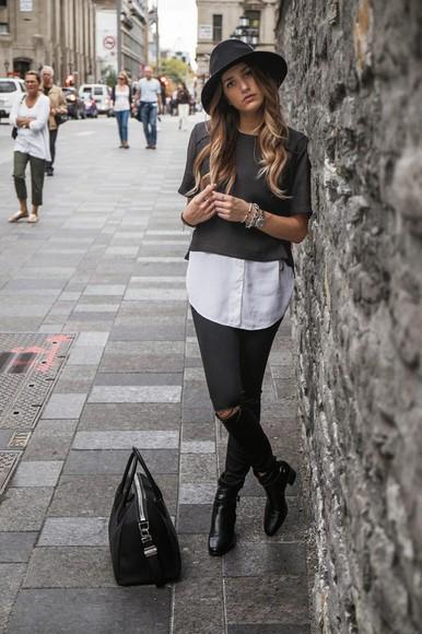 blogger bag black boots t-shirt the boho flow white shirt ripped