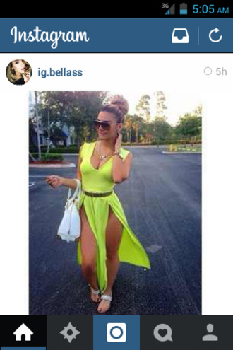 neon yellow two split dress