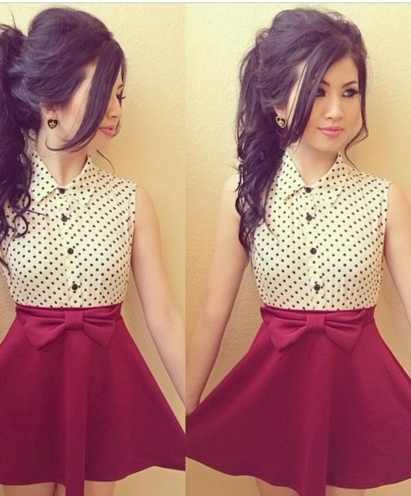 blouse blouse polka dots button down collared shirts skirt skirt