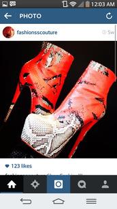shoes,snake print,python print,orange,fireball