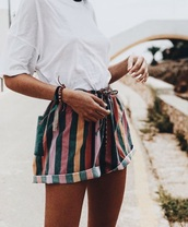 pants,short striped pants,short shorts,striped pants,summer pants,shorts,pink,orange,colorful,stripes,jeans,shirt,white,green,blush pink,yellow,tan,girl,bracelets,drawstring,drawstring shorts,roll-up,white t-shirt,posing,colorblock,vintage,70s style,boho,hippie,sporty,fashion,brazilian,brazil,90s style,baggy,tie,woven,pattern,rainbow,striped shorts,summer shorts,printed shorts,High waisted shorts,denim shorts,tie front,pretty,summer,summer outfits,want need