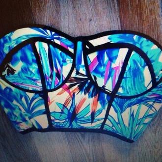 swimwear blue bandeau bikini bandeu top bandeau floral tribal pattern