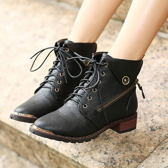shoes boot black zip cool