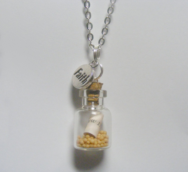 Faith Mustard Seed Miniature Bottle Necklace-Miniature Food Jewelry,Mustard Seed Pendant,Christian Jewelry,Faith Pendant,Christian Necklace