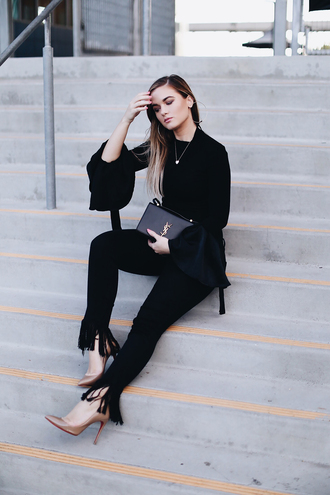 pants black pants top tumblr frayed denim frayed jeans black top bell sleeves pumps pointed toe pumps shoes bag blouse work outfits office outfits