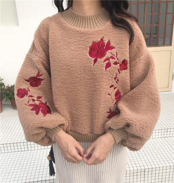 sweater girly fur fuzzy sweater brown sweatshirt jumper embroidered tumblr