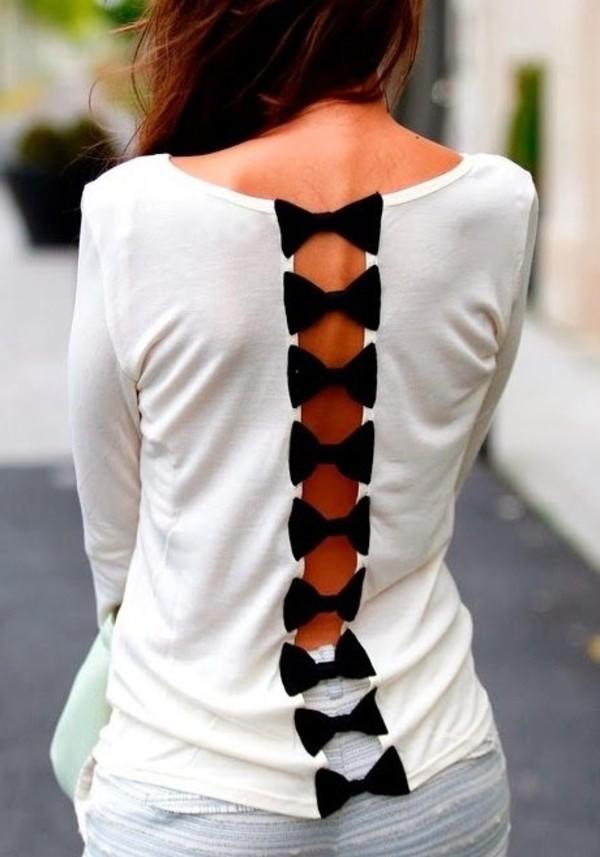shirt bows long sleeves open back