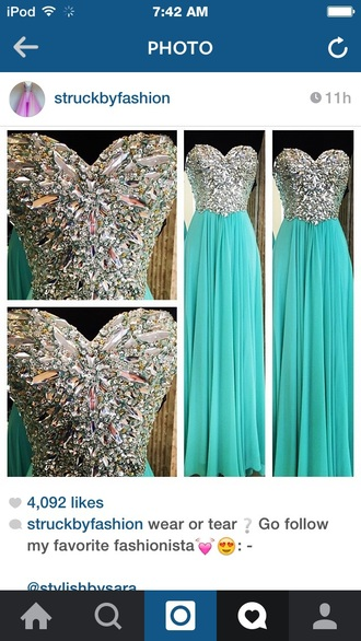 dress teal dress aqua dress sparkly dress prom dress