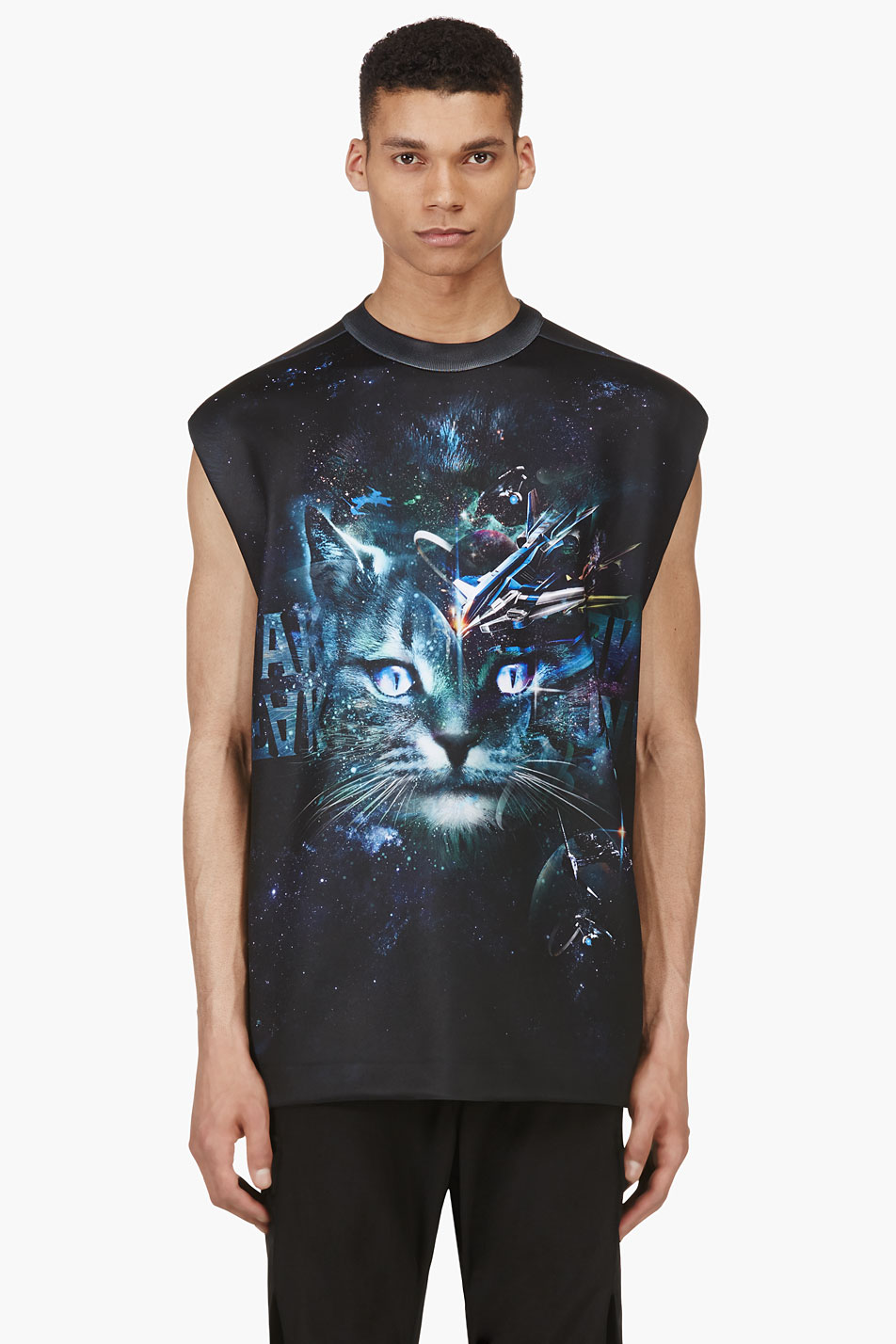 Juun.j ssense exclusive black and green cosmic cat muscle shirt
