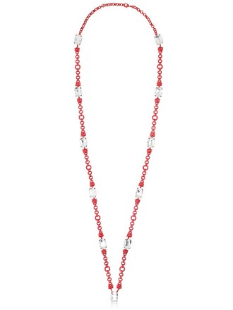 necklace white red jewels