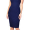 Square neck navy midi dress