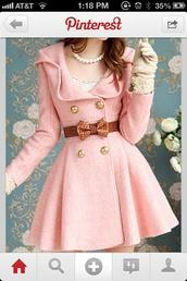 coat,bows,belt,buttons,jacket,pink