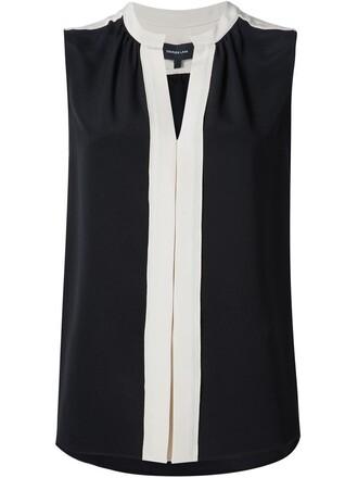 blouse pleated sleeveless women black silk top