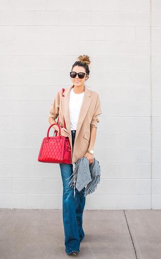hello fashion blogger red bag flare jeans blazer