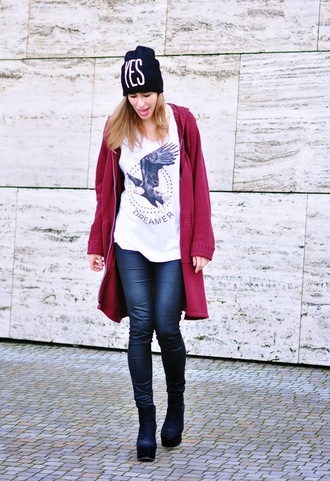 top cardigan hipster beanie eagle shoes outfit