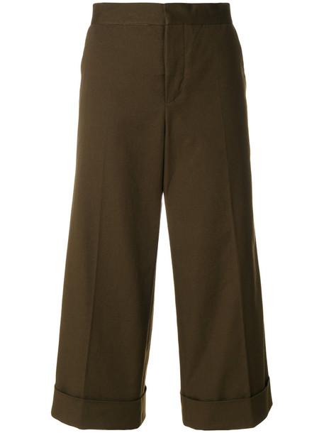 cropped women spandex cotton green pants