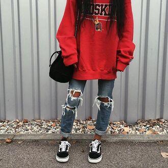jeans tumblr red sweater sweatshirt denim blue jeans ripped jeans sneakers black sneakers vans bag black bag vans outfits