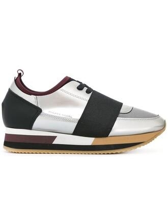 women sneakers leather grey neoprene metallic shoes