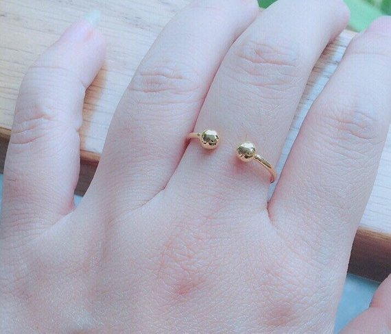 Tiny Gold Ring - Dainty Ring - Two Ball Open Ring - Minimalist Ring - Birthday Presents