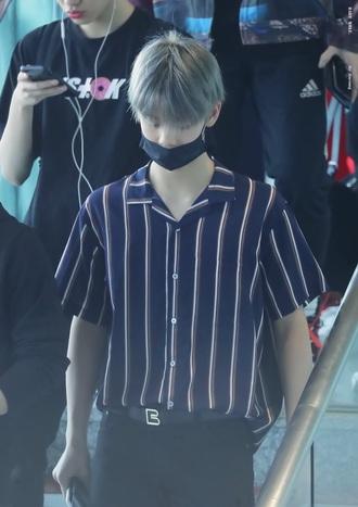 top bae jinyoung stripes menswear mens t-shirt