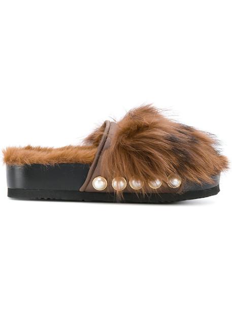 Suecomma Bonnie studded fur fox women spandex brown shoes
