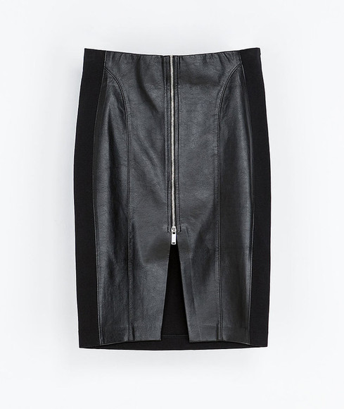 skirt black black skirt mini skirt pencil skirt leather skirt zipper skirt sexy