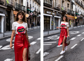 the fashion fraction,blogger,t-shirt,skirt,bag,shoes,sunglasses,red skirt,leather skirt,slit skirt,gucci bag,gucci