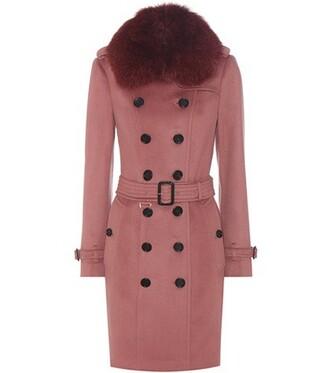 coat trench coat fur pink
