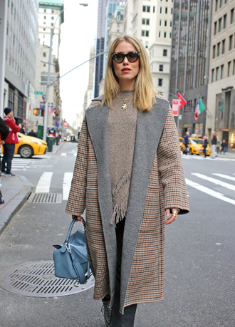 coat tumblr camel camel coat sweater nude sweater knit knitwear knitted sweater bag sunglasses