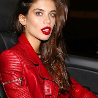 jacket sara sampaio biker jacket leather jacket love red jacket