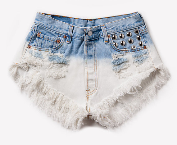 High Waisted Frayed Denim Shorts - The Else