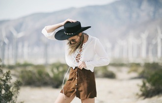 we wore what blogger suede skirt white blouse lace up black hat hat lace up top button up skirt