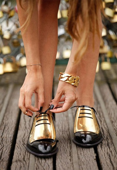 shoes gold oxfords black jewels gold shoes