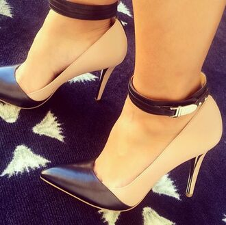 shoes nude black pumps buckles chic cute