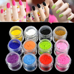 12 Colors New Charm Tips Fuzzy Flocking Velvet Nail 35DI Powder Nail Art Tools | eBay