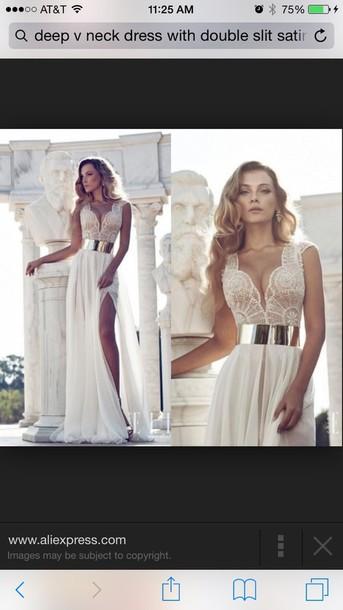 dress lace dress double slit dress