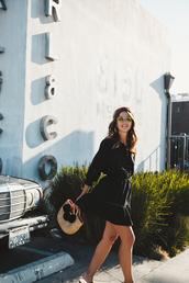 dress,tumblr,mini dress,black dress,long sleeves,lovely pepa,blogger,bag,pom poms,sunglasses,summer dress,summer outfits