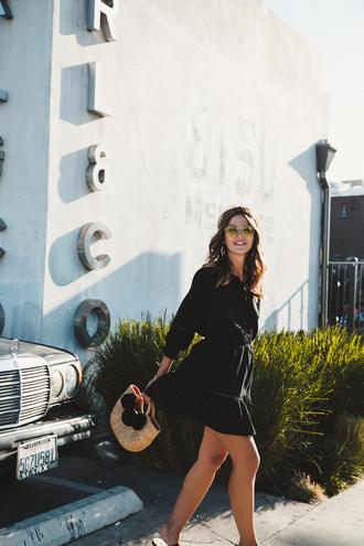 dress tumblr mini dress black dress long sleeves lovely pepa blogger bag pom poms sunglasses summer dress summer outfits