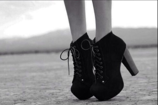 black shoes platform lace up boots shoes heels booties