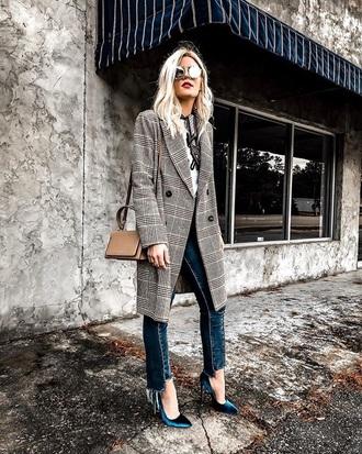 coat plaid plaid coat pumps velvet shoes grey coat high heel pumps velvet blue jeans jeans sunglasses