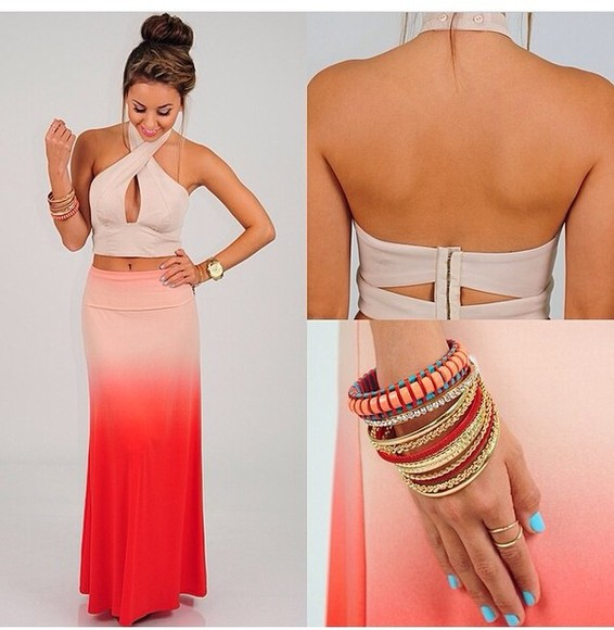 skirt crop tops dress ombre