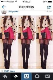 skirt,tights,blouse,polka dot blouse,pink skirt,black purse