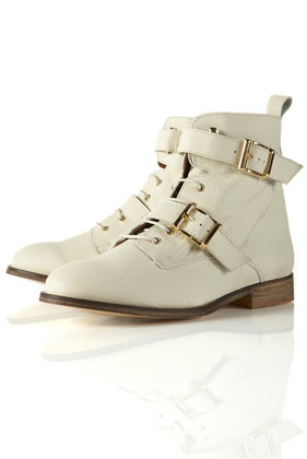 Admiral off white cross strap ankle boots