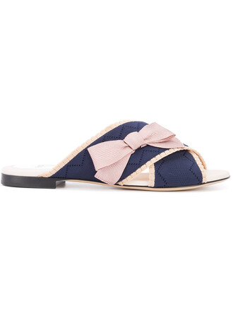 bow women sandals leather blue shoes