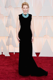 gown,oscars 2015,black,cate blanchett,necklace,dress