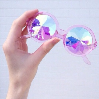 sunglasses tights glasses diamonds pink pastel holographic sun summer hot see through holed pretty fashion purple cute accessories round sunglasses aesthetic grunge tumblr