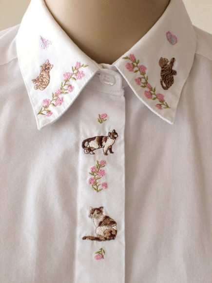 white blouse shirt white shirt cats flowers floral ,blouse, lace, white, sheer, flowy, shirt embroidered