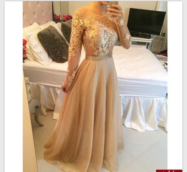 dress prom dream dress perfect dress prom dress evening dress clothes style maxi dress tumblr sheer cute elegant modest dress prom gown gown cinderella fashion tumblr outfit tumblr girl tumblr clothes nude tan gold prom dress gold dress fancy gold floor length dress 2016 prom dresses lace dress black dress long dress long prom dress long sleeve dress