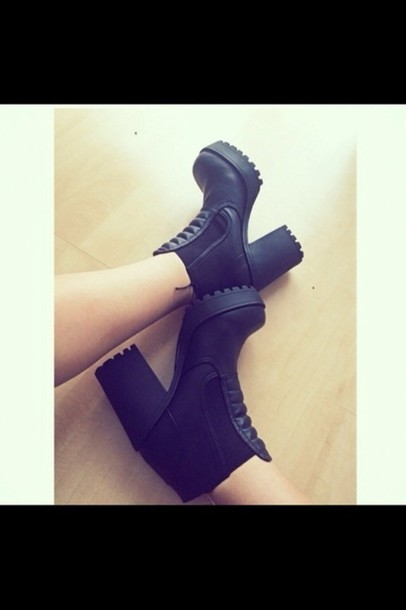 shoes high boots sexy rock black