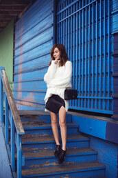 tsangtastic,blogger,slit skirt,fuzzy sweater,black skirt,ankle boots,jacket,sweater,skirt,shoes,bag